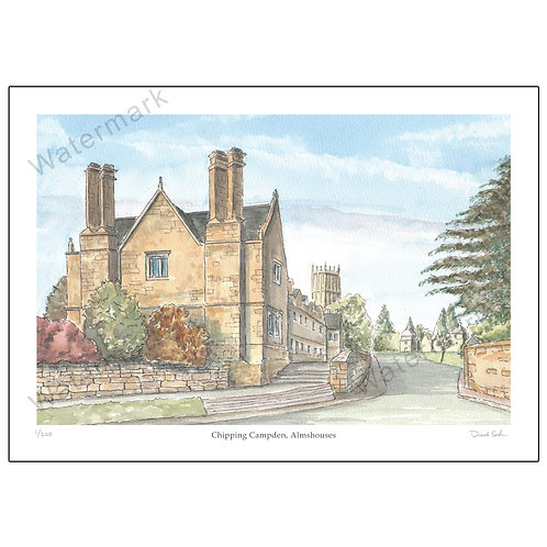 Chipping Campden, Almshouses, Pen and Watercolour Print A4 or A3