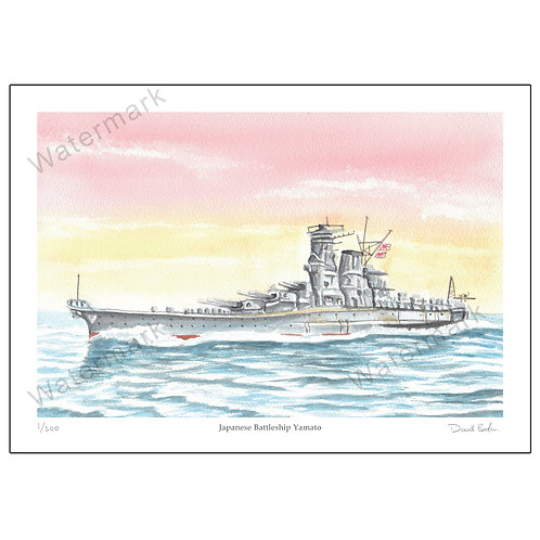 Japanese Battleship Yamato - Limited Edition,  Print A4 or A3