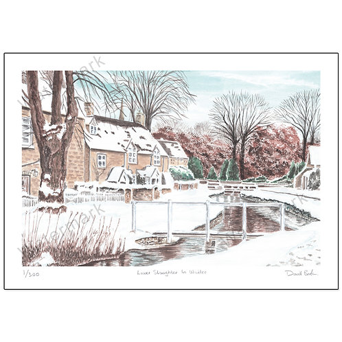 Lower Slaughter In Winter, Print A4