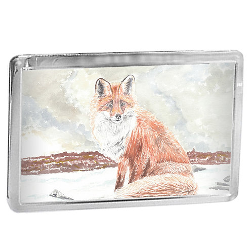 Fox In Winter - Fridge Magnet