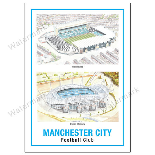 Manchester City Two Stadiums, Limited Edition Print A4 / A3