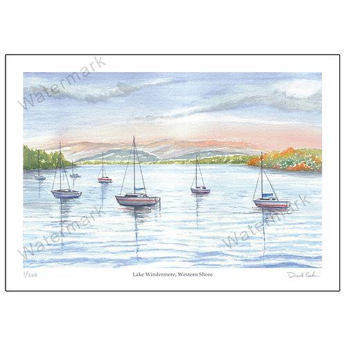 Lake Windermere Western Shore, Print A4 or A3
