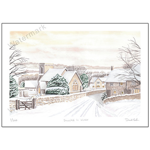 Snowshill In Winter, Print A4