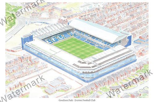 Everton - Goodison Park, Limited Edition Print A4 / A3