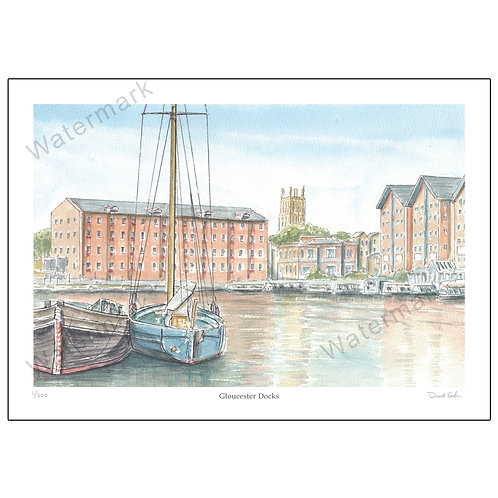 Gloucester Docks, Pen and Watercolour Print A4 or A3