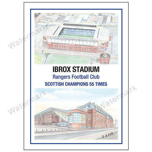 Rangers FC 55 times Champions, Ibrox Stadium Two Views, Print A4 or A3