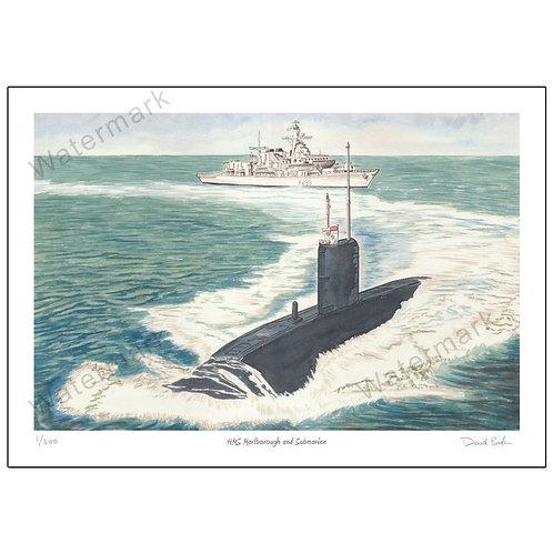 HMS Marlborough and Submarine - Limited Edition,  Print A4 o