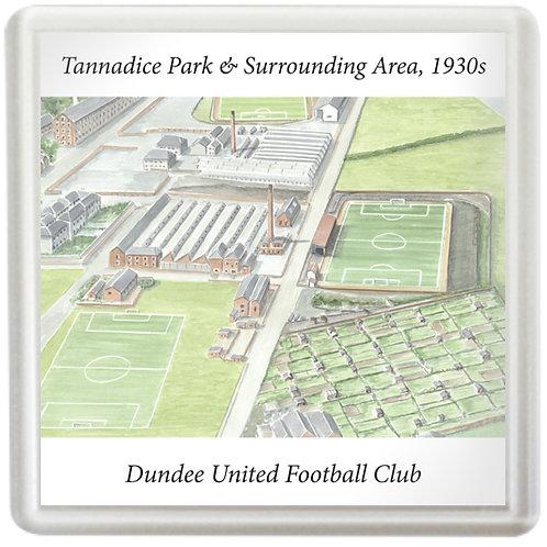 Dundee United, Tannadice Park & Surrounding Area, 1930s - Coaster