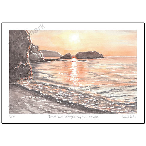 Sunset Over Cardigan Bay, Tresaith Ceredigion, Ltd Edition,  Print A4 or A3