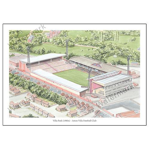 Aston Villa - Villa Park in the 1980s, Limited Edition Print A4 / A3