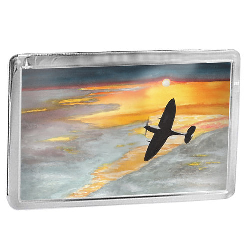 Spitfire Into Sunset - Fridge Magnet