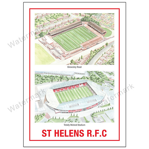 St Helens RLFC - Two Stadiums - Poster Print A4 / A3
