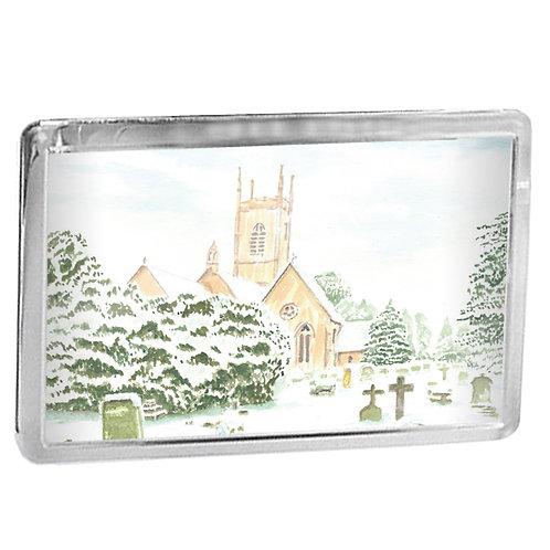 Upton St Leonards Church In Winter - Fridge Magnet