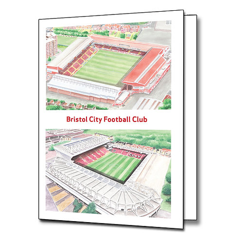 Bristol City Ashton Gate Old and New - Greetings Card Portrait, A5/A6