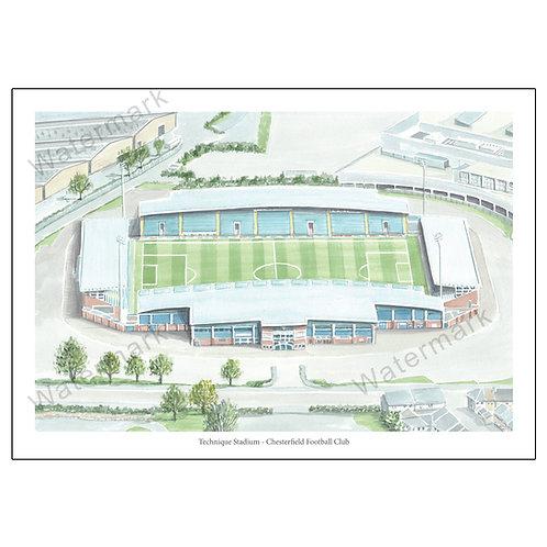 Chesterfield Football Club - Technique Stadium,  Print A4/A3