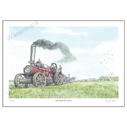 """Traction Engine """"Working The Farm"""", Print A4 or A"""