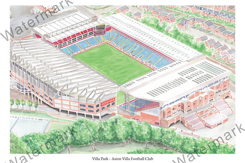 Aston Villa - Villa Park Aerial View,, Limited Edition Print A4 / A3