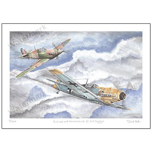 Hurricane and Messerschmitt Bf 109 Dogfight,  Print A4 or A3
