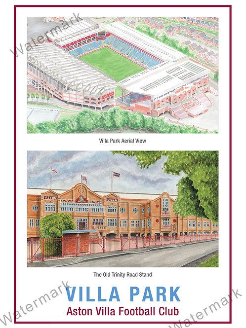 Aston Villa - Villa Park & Trinity Road, Print A4 & A3