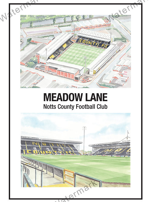 Notts County FC - Meadow Lane Two Views,, Limited Edition Print A4 / A3