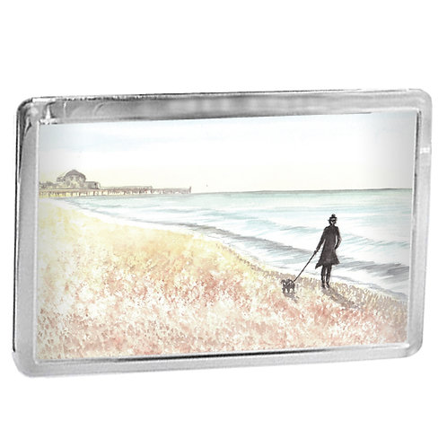 Walking A Dog Along The Beach - Fridge Magnet