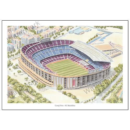 FC Barcelona - Camp Nou (La Liga, Spain), Limited Edition Print A4 / A3