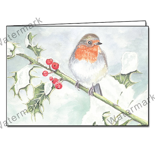 Robin On A Holly Branch - 8 Christmas/Greetings Cards A6