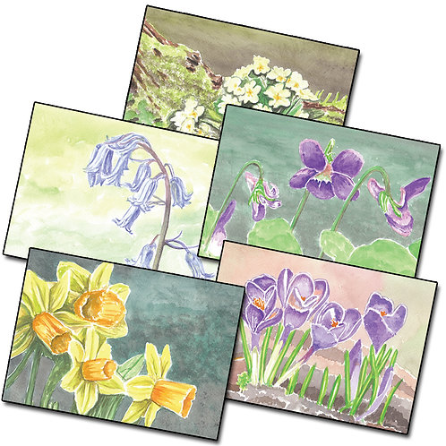 Flowers - Pack 5 of Greetings Card Landscape, A6