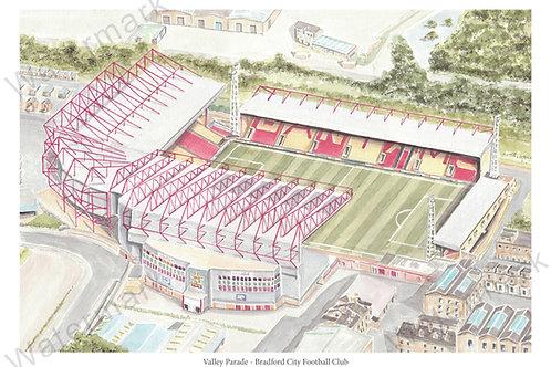 Bradford City Football Club - Valley Parade, Print A4 or A3