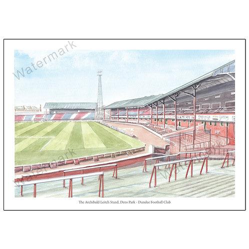 Dundee Football Club The Archibald Leitch Stand Dens Park, Print A4 / A3