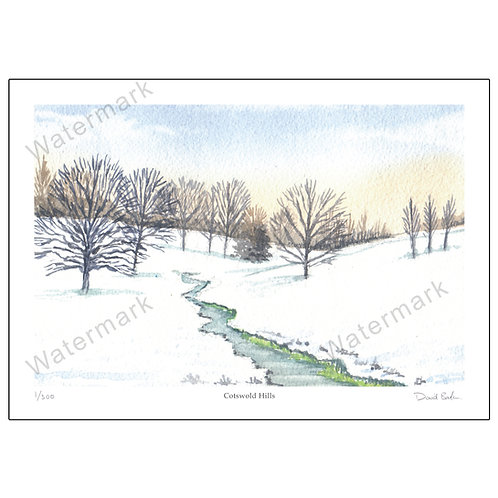 Cotswold Hills, Limited Edition Print A4