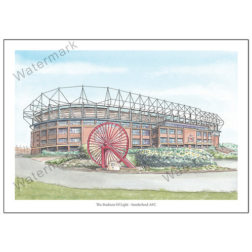 Sunderland AFC - Stadium Of Light Outside View, Print A4 or A3