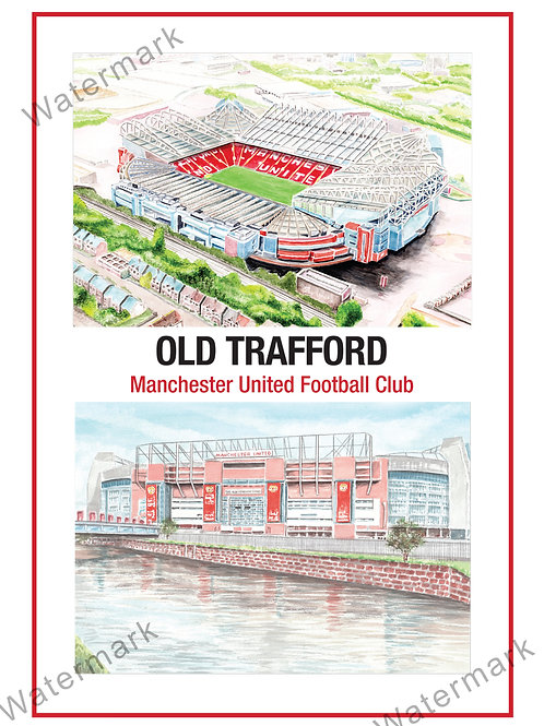 Manchester United - Old Trafford 2 views, Print A4 or A3
