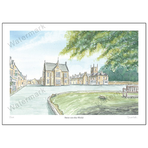 Stow-on-the-Wold, Pen and Watercolour Print A4 or A3