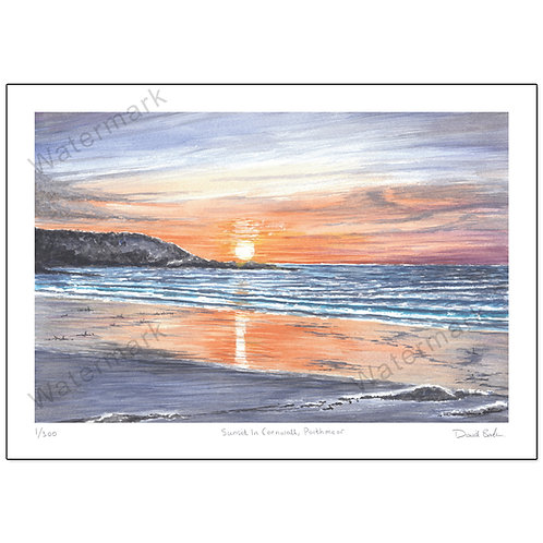 Sunset in Cornwall, Porthmeor,  Print A4 or A3