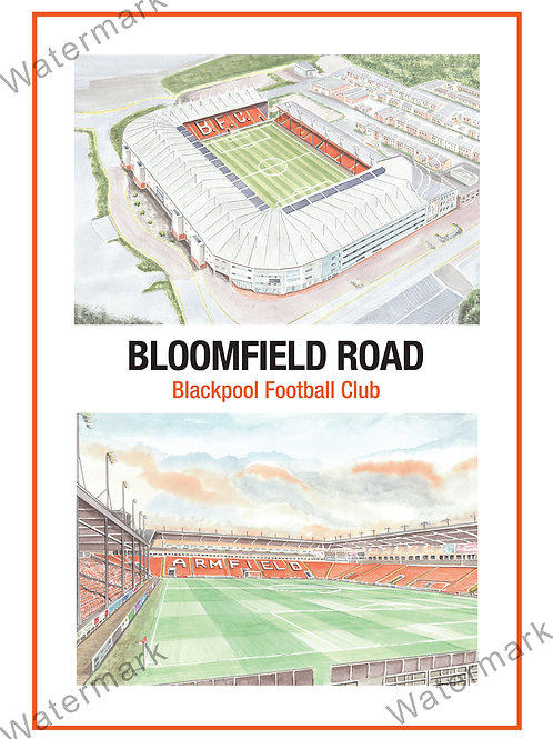 Blackpool Football Club - Bloomfield Road Two View, Print A4 or A3