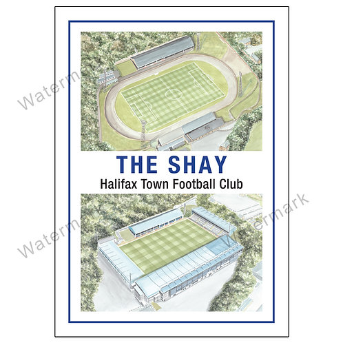 Halifax Town FC - The Shay Past and Present, Limited Edition Print A4 / A3