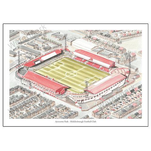 Middlesbrough Football Club - Ayresome Park, Print A4 or A3