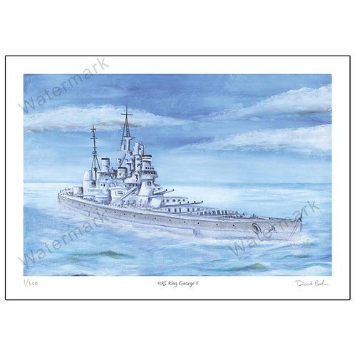 HMS King George V, Limited Edition Print A4 or A3
