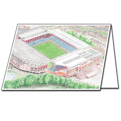 Aston Villa - Villa Park Aerial View - Greetings Card Landscape, A5/A6