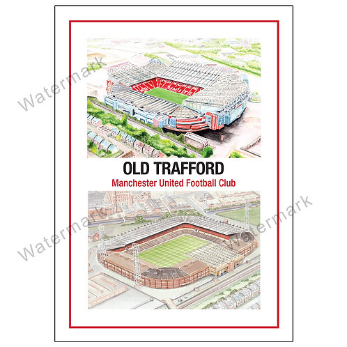 Manchester United Old Trafford - Past and Present, Limited Edition Print A4 / A3