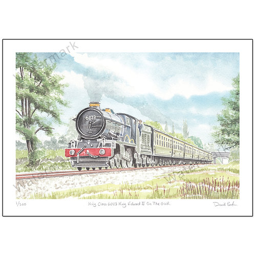 King Class 6023 King Edward II On The GWR - Limited Edition,  Print A4 or A3