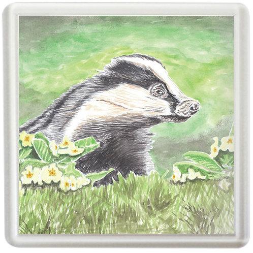 Badger and Primroses - Coaster