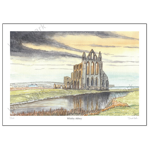 Whitby Abbey, Pen and Watercolour Print A4 or A3