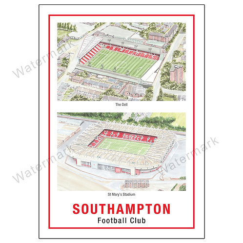 Southampton FC - Stadiums, Limited Edition Print A4 / A3