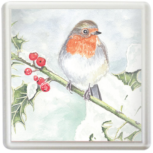 Robin On A Holly Branch - Coaster