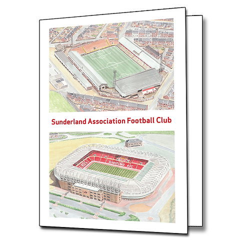 Sunderland AFC - Two Stadium - Greetings Card Portrait, A5/A6