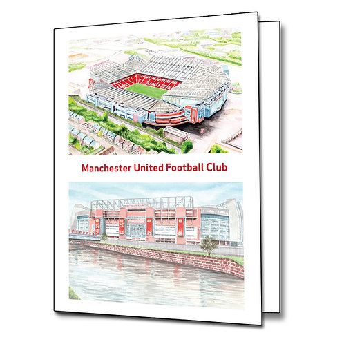 Manchester United - Old Trafford two view - Greetings Card Portrait, A5/A6