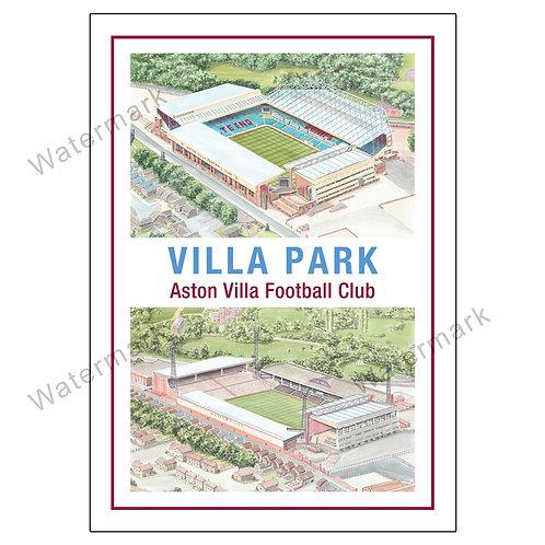 Aston Villa - Villa Park Past and Present, Limited Edition Print A4 / A3