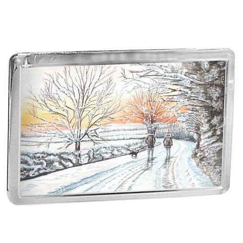 Winter Walk - Fridge Magnet